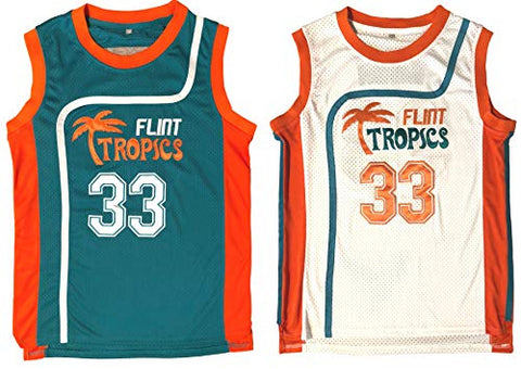 Jackie Moon #33 Flint Tropics Semi Pro Movie Retro Throwback Basketball Jersey Embroidery S-Xl (Xx-Large, White)