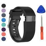 Benestellar Newest Fitbit Charge Hr Band, Silicone Replacement Small Large Band Bracelet Strap For Fitbit Charge Hr Wireless Activity Wristband (Large(6.2 -7.6 ), Black 1-Pack)