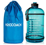 H2Ocoach 1 Gallon Sports Water Bottle With Time Marker | Motivational 3.79 Liters, Reusable Bpa Free Jug (128 Oz) (Blue)