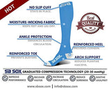 Sb Sox Compression Socks (20-30Mmhg) For Men &Amp; Women - Best Stockings For Running, Medical, Athletic, Edema, Diabetic, Varicose Veins, Travel, Pregnancy, Shin Splints (Blue/White, Large)