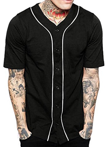 Hat And Beyond Mens Baseball Button Down Jersey 1Upa0001 (Medium, 1Up01_Black/White)
