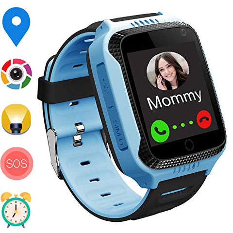Palmtalkhome Gps Track Watch For Kids  Smartwatch Phone With Gps/Lbs Locator Sos Camera Voice Chat Math Game Step Counter Geo Fence For Holiday Birthday Gifts Back To School Boys Girls (01 Gps Blue)