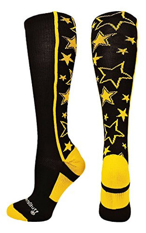 Madsportsstuff Crazy Socks With Stars Over The Calf Socks (Black/Gold, Medium)