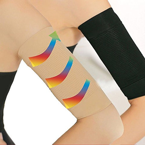2 Pair Beauty Women Weight Loss Calories Slimming Arm Shaper Massager Lose Buster Wrap Belt Slimming Compression Arm Shaper Helps Tone Shape Upper Arms Sleeve, Black + Flesh Color