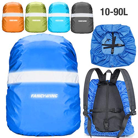 Fancywing Waterproof Backpack Rain Cover With Reflective Strap, Upgraded 10-90L Non-Slip Rainproof Backpack Cover For Hiking, Camping, Hunting, Rain Cycling, Blue, M