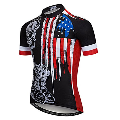 Weimostar Men'S Usa Cycling Jersey Short Sleeve Biking Shirts Breathable With Pokects Black Size Xxl