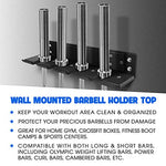 Yes4All Wall Mounted Olympic Barbell Holder/Olympic Bar Hanger For Home Gym - 4 Bar Vertical Barbell Storage Rack