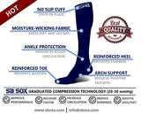Sb Sox Compression Socks (20-30Mmhg) For Men &Amp; Women - Best Stockings For Running, Medical, Athletic, Edema, Diabetic, Varicose Veins, Travel, Pregnancy, Shin Splints (Solid - Navy, X-Large)