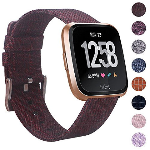 Ezco Compatible Fitbit Versa Bands, Woven Fabric Breathable Watch Strap Quick Release Replacement Wristband Accessories Compatible Fitbit Versa Smart Watch Women Man (Maroon)