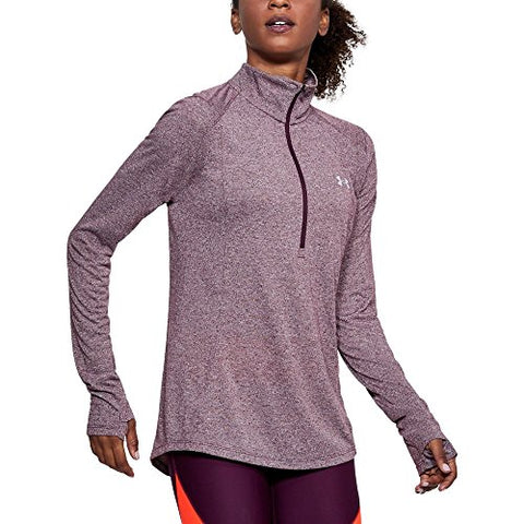 Under Armour Women'S Threadborne Twist 1/2 Zip Top, Merlot /Steel, Small