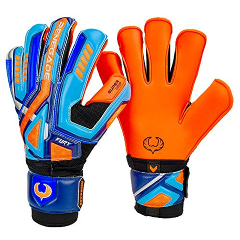 Renegade Gk Fury Siege Roll Hybrid Cut Pro Level 4 Youth Goalkeeper Gloves With Pro-Tek Fingersaves - Kids Soccer Goalie Gloves Youth Size 7 - Boys &Amp; Girls Goalie Gloves Soccer - Blue, Orange, Black
