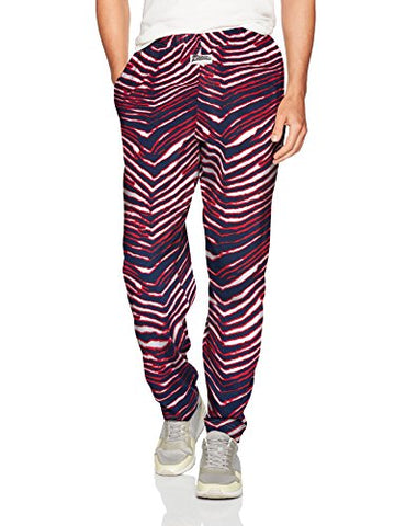 Zubaz Men'S Classic Zebra Printed Athletic Lounge Pants, Navy/Red L