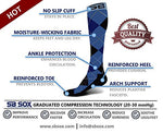 Sb Sox Compression Socks (20-30Mmhg) For Men &Amp; Women - Best Stockings For Running, Medical, Athletic, Edema, Diabetic, Varicose Veins, Travel, Pregnancy, Shin Splints (Dress - Blue Argyle, X-Large)