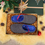 Rockdove Men'S Birdseye Knit Memory Foam Slipper, Small, Us 7-8 M, Heathered Gray/Blue