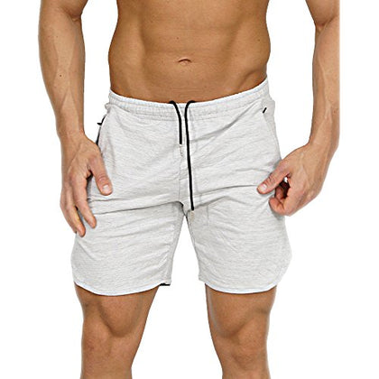 Men'S Gym Workout Shorts Running Short Pants Fitted Training Bodybuilding Jogger With Zipper Pockets White L Tag Xxl