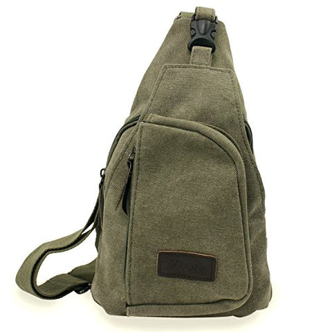 Aike Men Canvas Shoulder Casual Bag Sling Chest Bag Traveling Bag (Green, Large)