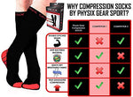 Physix Gear Compression Socks For Men &Amp; Women 20-30 Mmhg, Best Graduated Athletic Fit For Running Nurses Shin Splints Flight Travel &Amp; Maternity Pregnancy - Boost Stamina Circulation &Amp; Recovery Red Lxl