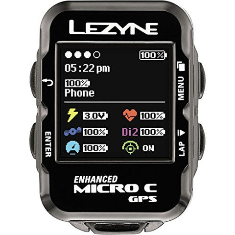 Lezyne Micro Color Gaps Hrsc Loaded Gps, Black, One Size