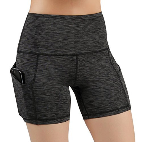 Ododos High Waist Out Pocket Yoga Short Tummy Control Workout Running Athletic Non See-Through Yoga Shorts,Spacedyecharcoal,Medium