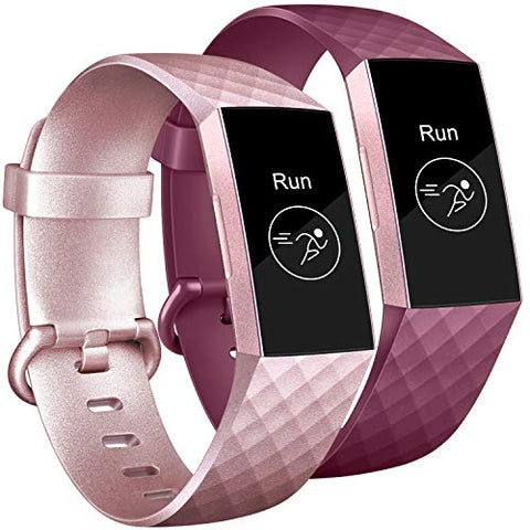 Tobfit Bands Compatible With Fitbit Charge 3 Bands For Women Men Replacement For Fitbit Charge 3 Se Accessories Classic Sports Wristbands, (#Rose Gold/Wine Red, Small)