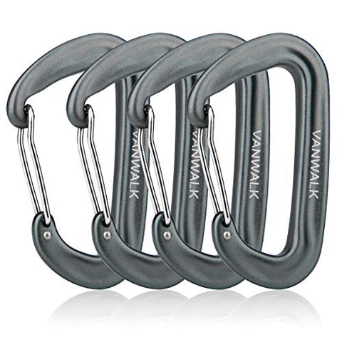 Vanwalk Aluminium 12Kn Wiregate Carabiners Rated 2645 Lbs Each Heavy Duty Lightweight Carabiner Clips For Hammock Rocking Camping