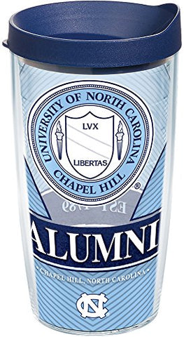 Tervis 1222780 North Carolina Tar Heels Alumni Tumbler With Wrap And Navy Lid 16Oz, Clear