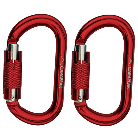 25Kn Heavy Duty Aluminum Twist Lock - Auto Locking Rock Climbing Carabiner Clip, Set Strong Oval Shaped Self Locking, Lockable Hook Red