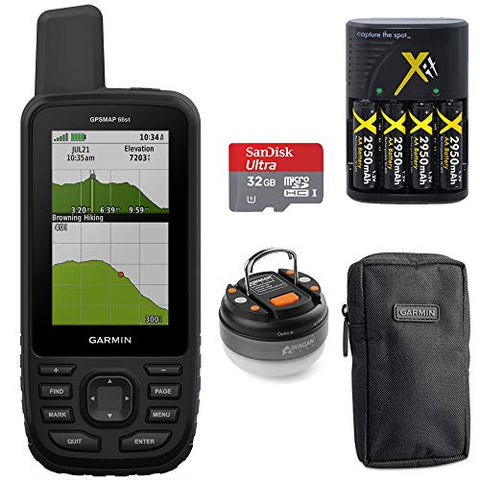 Garmin Gpsmap 66St Topo U.S. Canada 100K Maps Multi-Gnss Support &Amp;32Gb Memory Card+More