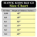 Hawk Kids Brazilian Jiu Jitsu Suit Youth Children Bjj Gi Kimonos Boys &Amp; Girls Bjj Uniform Lightweight Preshrunk Pearl Weave Fabric, With Free White Belt, 1 Year Warranty!!! (K00, Boys White)