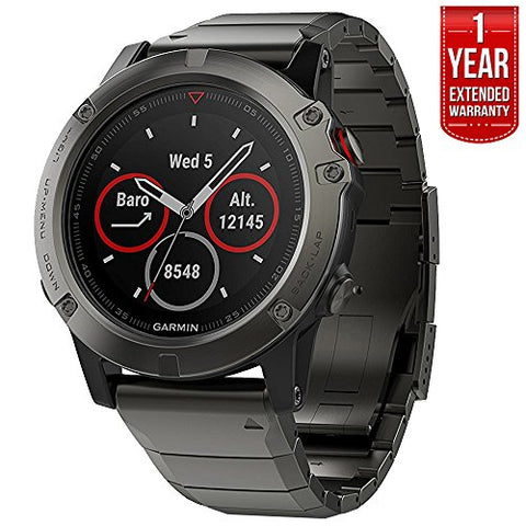 Garmin Fenix 5 Sapphire Multisport 47Mm Gps Watch - Slate Gray With Metal Band (010-01688-20) + 1 Year Extended Warranty