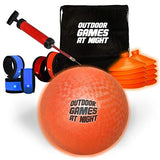 Outdoor Games Led Kickball With Led Armbands, Cones, Pump, And Bag - Light Up The Night With This Glow In The Dark Kickball Set (Button Activated)