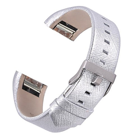 Bayite Leather Bands Compatible Fitbit Charge 2, Replacement Accessories Straps Women Men, Silver