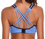 Beautyin Mid Support Bulit-Up Sports Bras Womens Yoga Athletic Workout Bra L Blue
