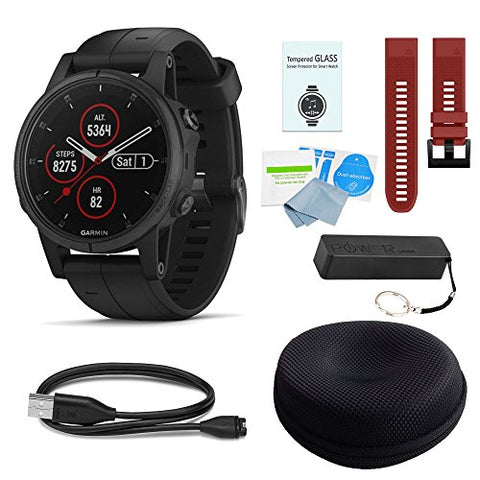 Garmin Fenix 5 Plus Sapphire Black W/Black Band &Amp; Red Band Deluxe Bundle