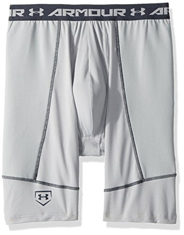 Under Armour Boys' Baseball Slider W/ Cup, Baseball Gray (075)/Stealth Gray, Youth Small
