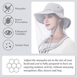Palmyth Mosquito Head Net Hat Safari Hiking Fishing Hats Sun Protection Water Repellent Bucket Boonie Hats With Removable Neck Flap Hidden Net Uv Upf 50+ From Bug Insect For Men Women Outdoor (Grey)