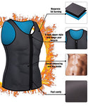 Men Waist Trainer Vest For Weightloss Hot Neoprene Corset Body Shaper Zipper Sauna Tank Top Workout Shirt (M, Gray Neoprene Slimming Vest)