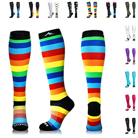 Newzill Compression Socks (20-30Mmhg) For Men &Amp; Women - Best Stockings For Running, Medical, Athletic, Edema, Diabetic, Varicose Veins, Travel, Pregnancy, Shin Splints. (Rainbow Stripes, Small)