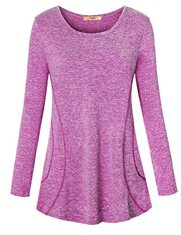Luranee Boutique Clothing For Women, Knit Gym Shirts Fancy Yoga Tops Quick Dry Sun Protection Clothes Long Sleeve Boat Neck Breathable Loose Fitness Fall Activewear Jersey Purple Plus Size 2Xl