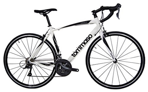 Tommaso Forcella Endurance Aluminum Road Bike, Carbon Fork, Shimano Claris R2000, 24 Speeds, Aero Wheels - Matte White - Extra Small
