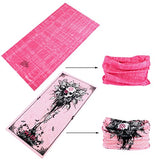 Toes Home 9Pcs Outdoor Magic Headband Elastic Seamless Bandana Scarf Uv Resistence Sport Headwear (Pink Lady)