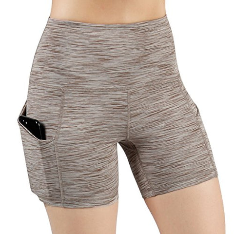 Ododos High Waist Out Pocket Yoga Short Tummy Control Workout Running Athletic Non See-Through Yoga Shorts,Spacedyebrown,Small