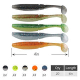 Runcl Anchor Box - Paddle Tail Worms, Soft Fishing Lures Ribbed Design Big Boot Tail 4In