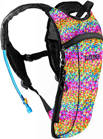 Sojourner Rave Hydration Pack Backpack - 2L Water Bladder Included For Festivals, Raves, Hiking, Biking, Climbing, Running And More (Small) (Rainbow Triangle)
