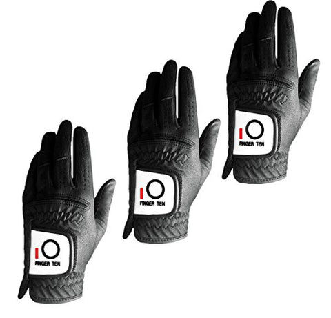 Finger Ten Mens Golf Glove Rain Grip Value 3 Pack, Black White Left Hand Fit Right Handed Golfer, All Weather Durable Grip Size Small Medium Large Xl (Black, X-Large)