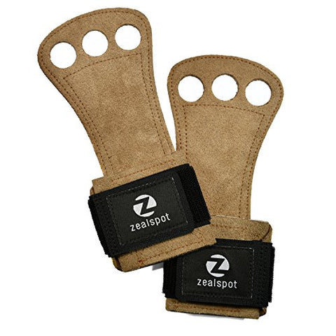 Z Zealspot 3 Holes Leather Gymnastics Hand Grips For Pullups, Weight Lifting, Powerlifting,Chin Ups, Exercise, Kettlebell And Barbells,Brown,M