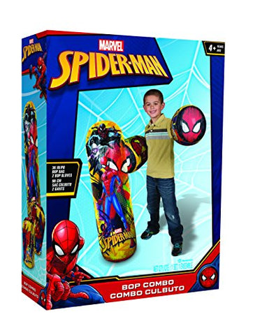 Hedstrom Spider-Man Bop Combo Inflatable Punching Bags And Gloves, 36 , Red