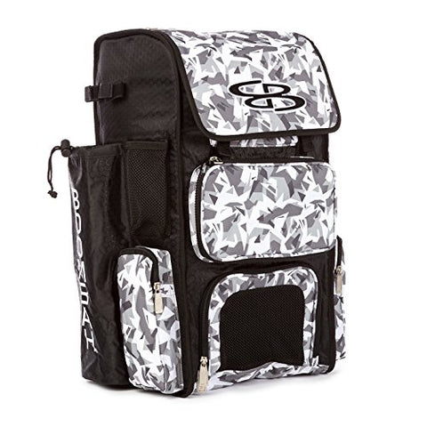 Boombah Superpack Bat Pack -Backpack Version (No Wheels) - Holds 2 Bats - Stealth Camo Black/Gray - For Baseball Or Softball