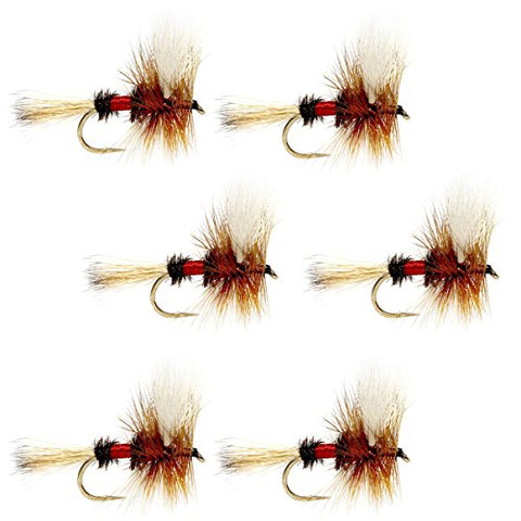 The Fly Fishing Place Royal Wulff Classic Trout Dry Fly Fishing Flies - Set Of 6 Flies Size 12