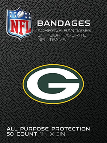 Nfl Officially Licensed Bandages, 1 X3 , 50/Box (Green Bay Packers)